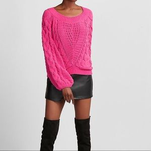 Express Hot Pink Balloon Sleeve Cable Knit Sweater